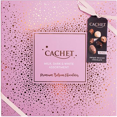 Belgisk chokladask-Cachet Pink 315 g