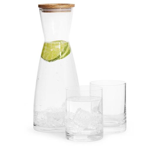 Glaskaraff med två glas